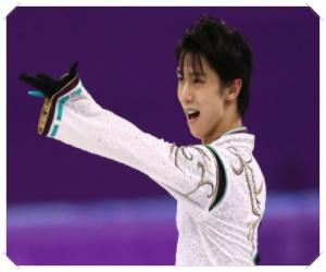 スケートリンクに立つ羽生選手